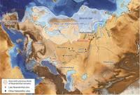 На карте показано расположение стоянки Бызовой, а также некоторых других известных местонахождений (красным – неандертальские стоянки, в том числе - пещера Мезмайская).